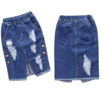 Girls Ripped Denim Skirt