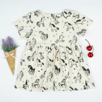 Toddler Girls Apricot Print Cartoon Unicorn Skaters Dress