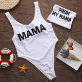 Mommy and Me Print Slogan White Swimsuit