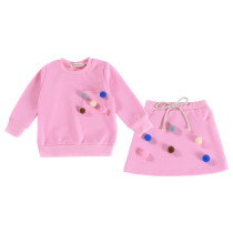 Toddler Girl 2 Pieces Pompon Long Sleeve Sweatshirt and Skirt Clothes Set Outfit