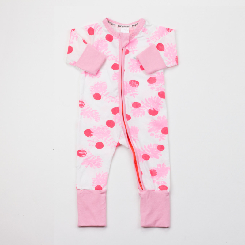 Baby Girl Zip-Up Print Red Fruit Cotton Long Sleeve One piece