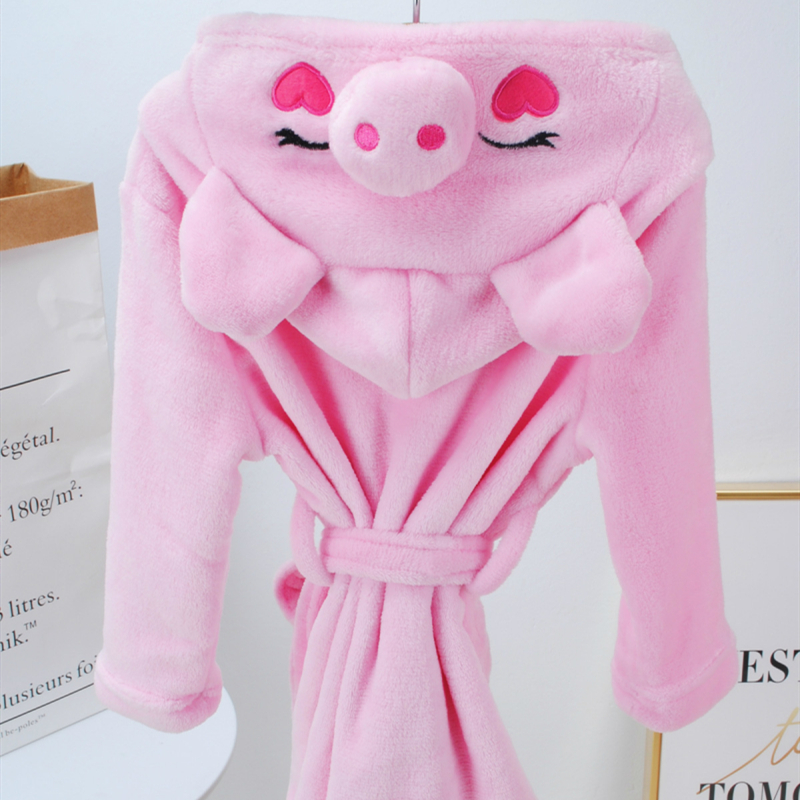 Kids Pink Pig Soft Bathrobe Sleepwear Comfortable Loungewear