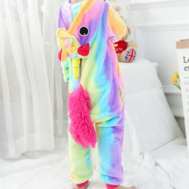 Kids Rainbow Unicorn Onesie Kigurumi Pajamas Kids Animal Costumes for Unisex Children