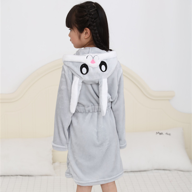 Kids Rabbit Soft Bathrobe Sleepwear Comfortable Loungewear