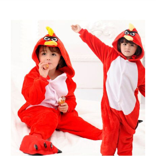 Kids Red Angry Bird Onesie Kigurumi Pajamas Kids Animal Costumes for Unisex Children