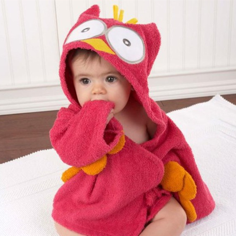 Baby Owl Bathrobe Tracksuit Thicken Cute Cartoon Animal Hooded Sleepwear