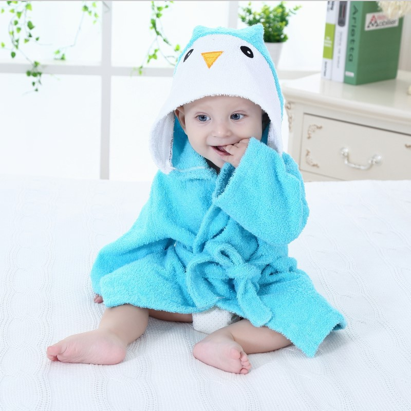 Baby Penguin Bathrobe Tracksuit Thicken Cute Cartoon Animal Hooded Sleepwear