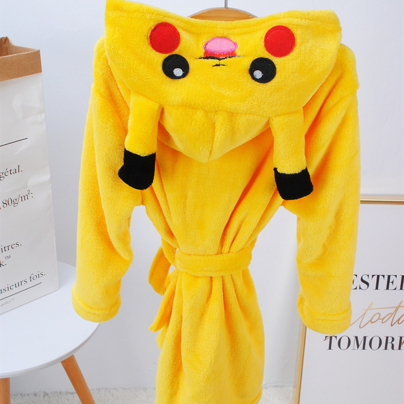 Kids Yellow Pokemon Pikachu Soft Bathrobe Sleepwear Comfortable Loungewear