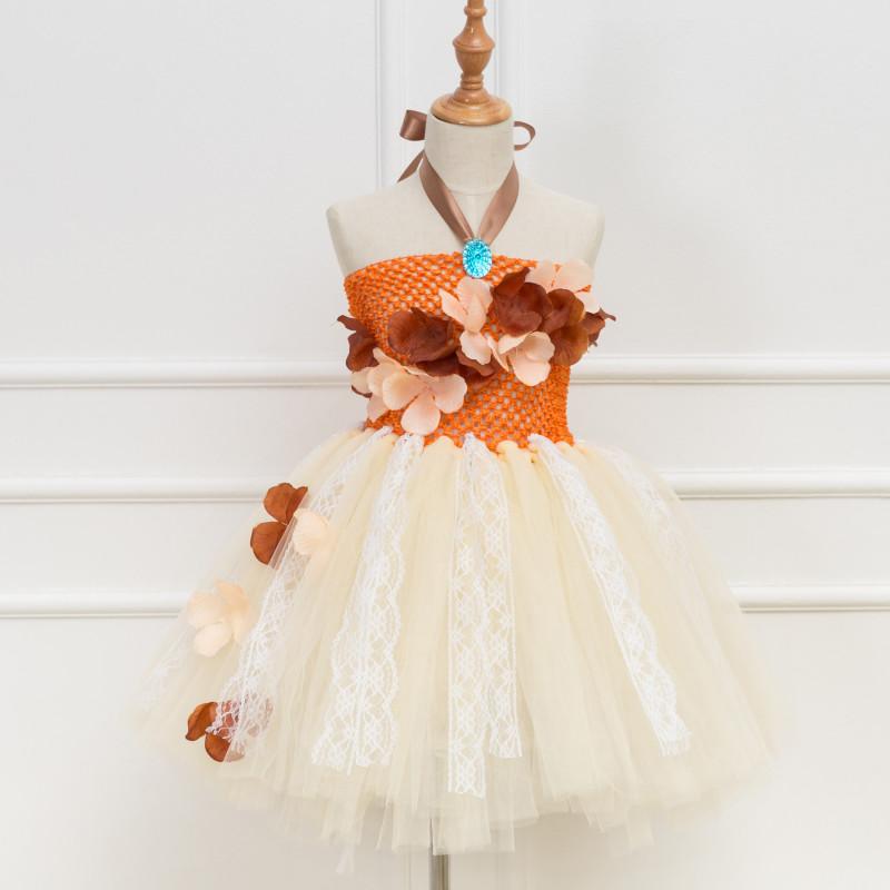 Girl Orange Crocheted Flowers Lace Tutu Dress