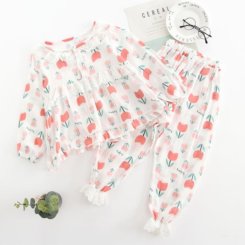Girls Lace Ruffles Prints Flowers Sleepwear Pajamas