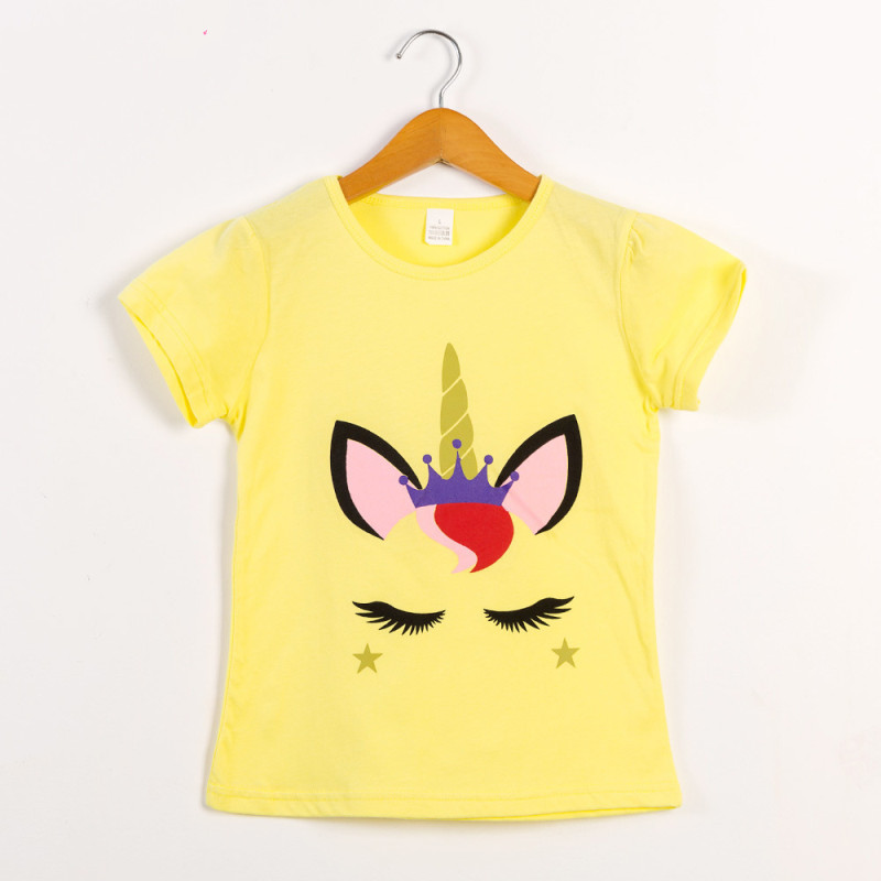 Girls Print Unicon Yellow T-Shirts