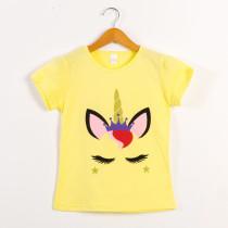 Girls Print Unicon Yellow T-Shirts