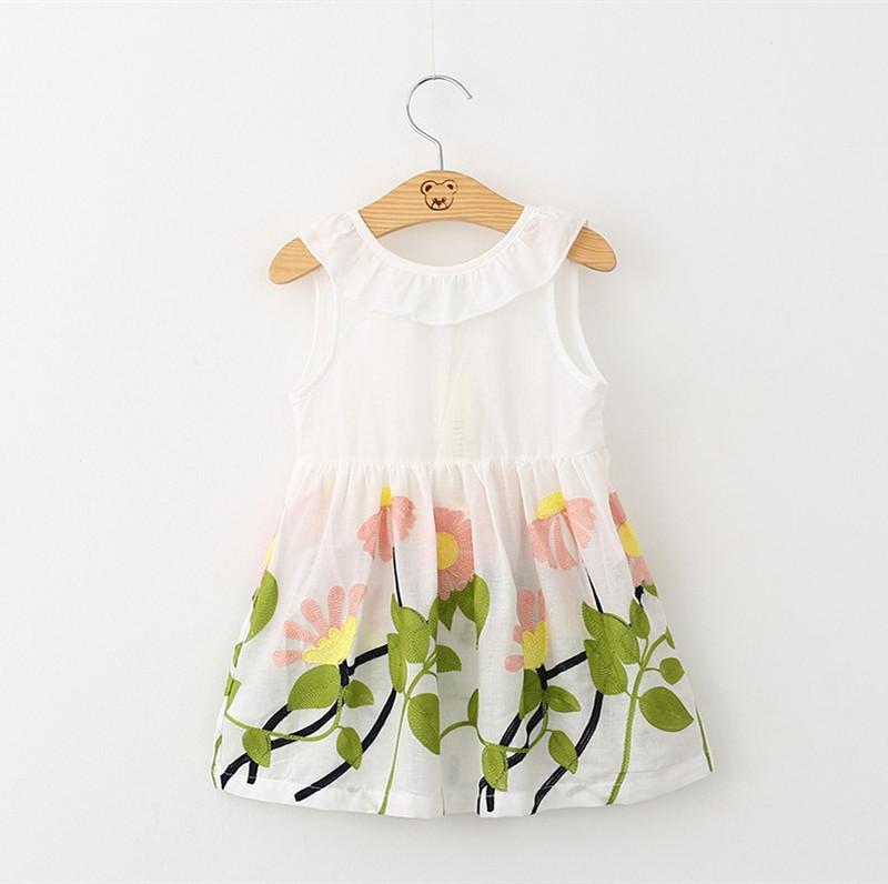 Girls Print Embroidery Flowers Bowknot Sleeveless Dress