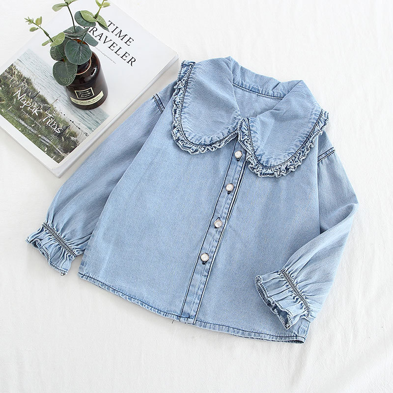 Girls Ruffles Blue Denim Long Sleeves Shirt
