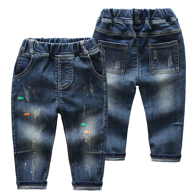 Boys Print Ripped Denim Jeans With Rubber Waist