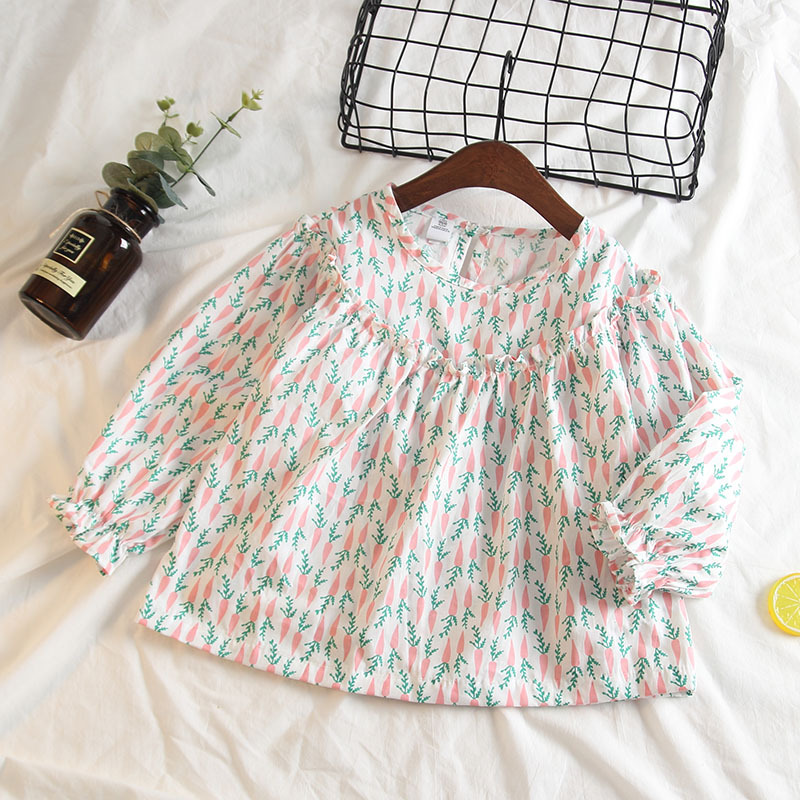 Girls Print Carrots Ruffles White Long Sleeves Blouse