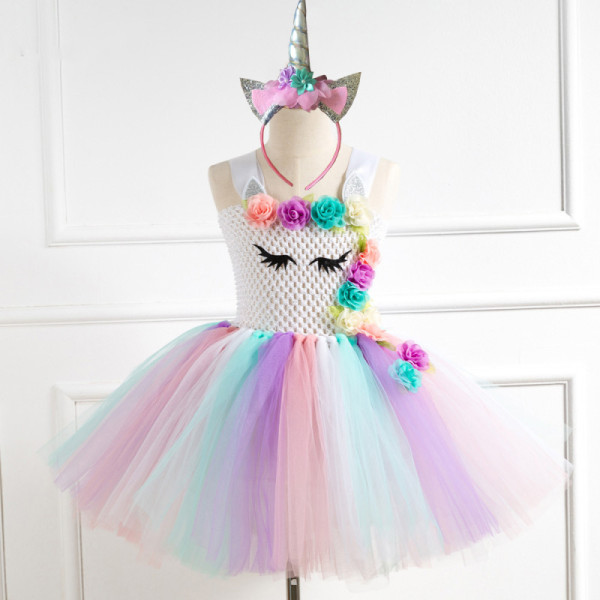 Girl White Crocheted Tutu Dress With Unicorn Hair-band