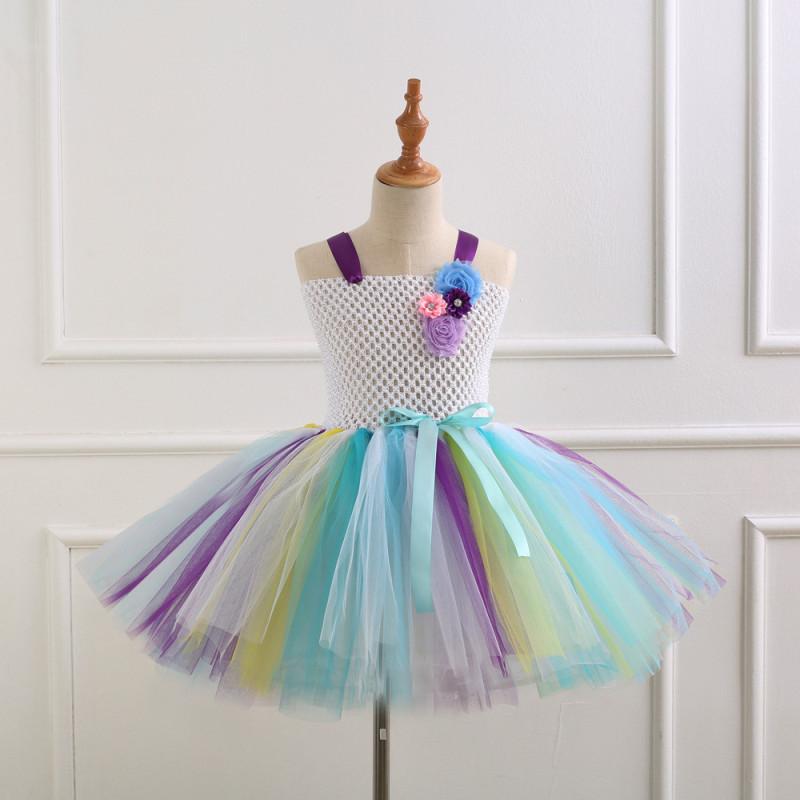 Girl White Crocheted Flowers Tutu Dress