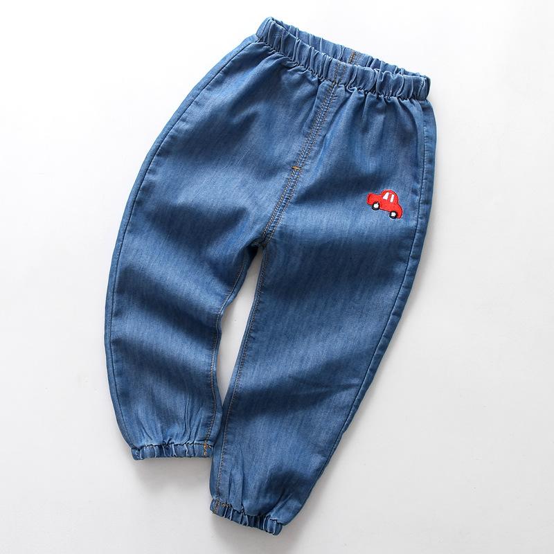 Boys Print Car Lightweight Denim Jeans With Rubber Waist