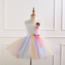 Girl Crocheted Flowers Tutu Dress With Unicorn Hair-band