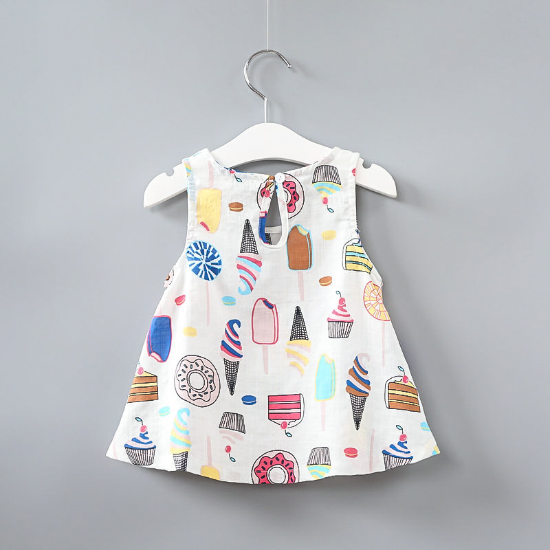Girls Print Ice-creams Vest Dress
