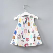 Girls Print Ice-creams Vest Dress