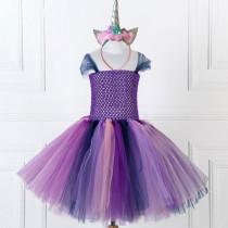 Girl Purple Crocheted Princess Tutu Dress