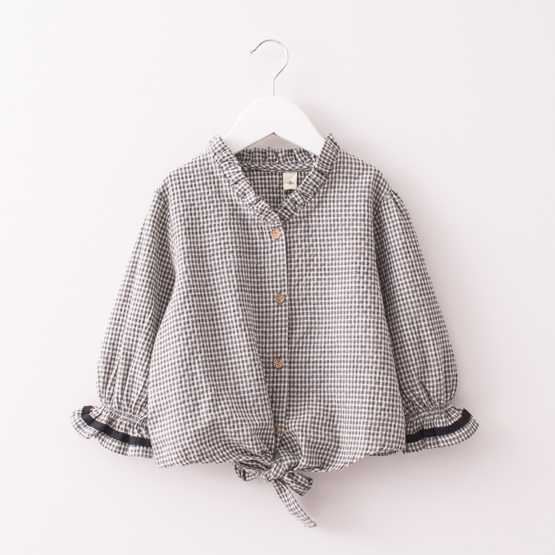 Girl Ruffles Collar Bell Sleeves Plaids Shirts