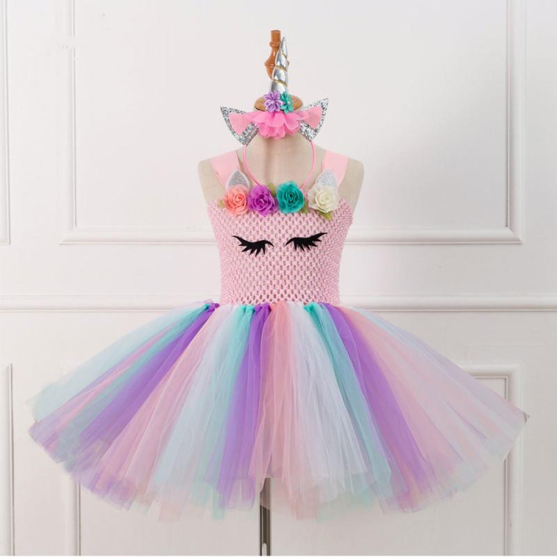 Girl Crocheted Print Flowers Tutu Dress With Unicorn Hair-band