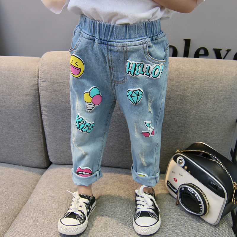 Girls Prints Slogan Ripped Denim Jeans With Rubber Waist