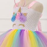 Girl Crocheted Print Flowers Crown Tutu Dress With Unicorn Hair-band