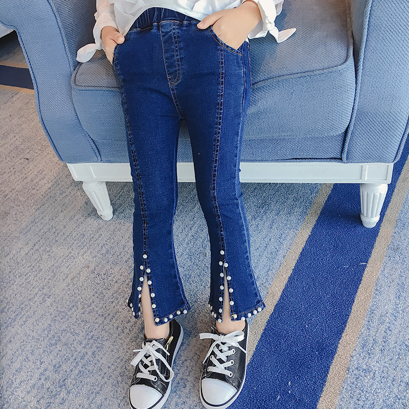 Girl Flared Pearls Tights Jeans Bottoms