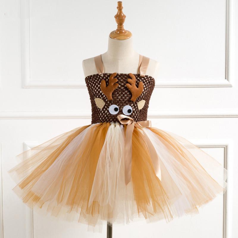 Girl Crocheted Print Deer Tutu Dress With Deer Hair-band