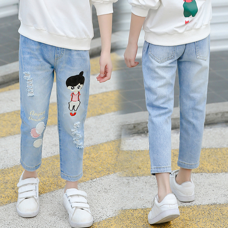 Girls Prints Ripped Cropped Jeans Bottoms