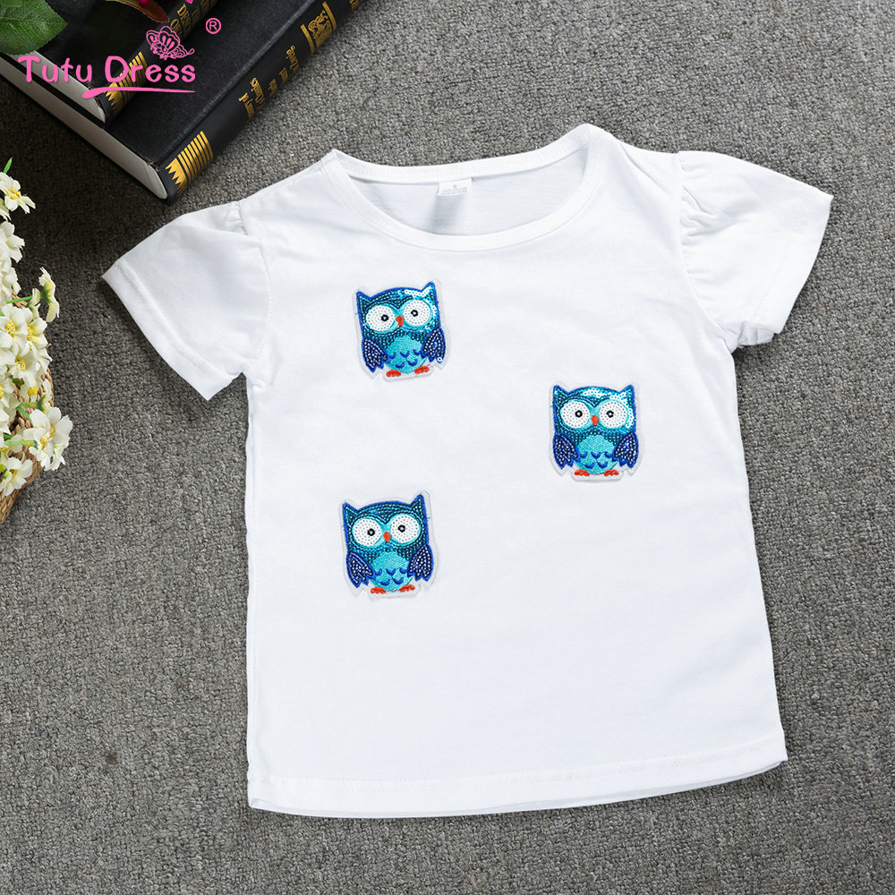 Girls Print Owl Sequins White T-Shirts