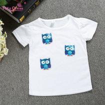 Girls Print Owl Sequins White T-Shirts