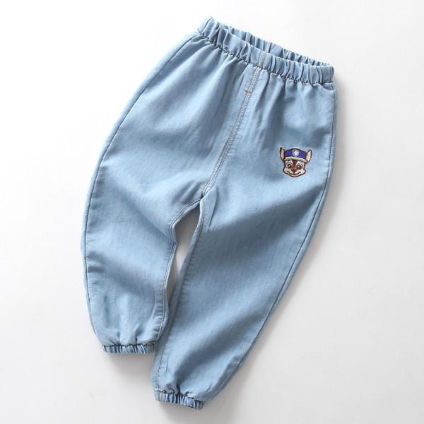 Boys Print Dog Lightweight Denim Jeans With Rubber Waist