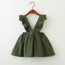 Girls Ruffles Stripes Overall Dress