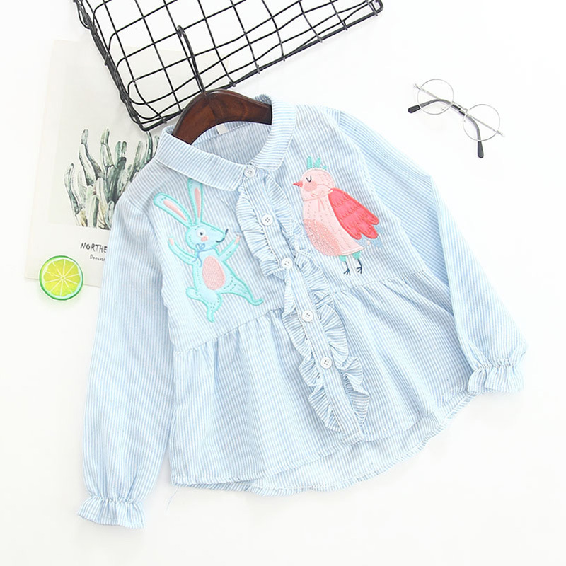 Girls Print Embroidery Ruffles Stripes Shirt