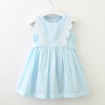 Girls Blue Lace Summer Sleeveless Dress