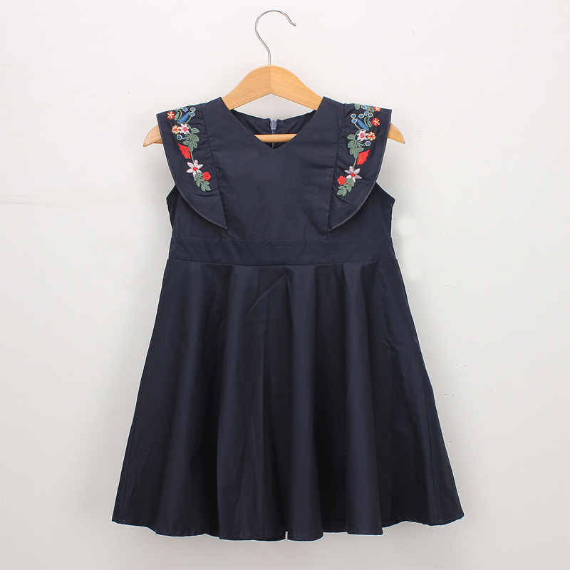 Girls Embroidery Flowers Sleeves Summer Dress