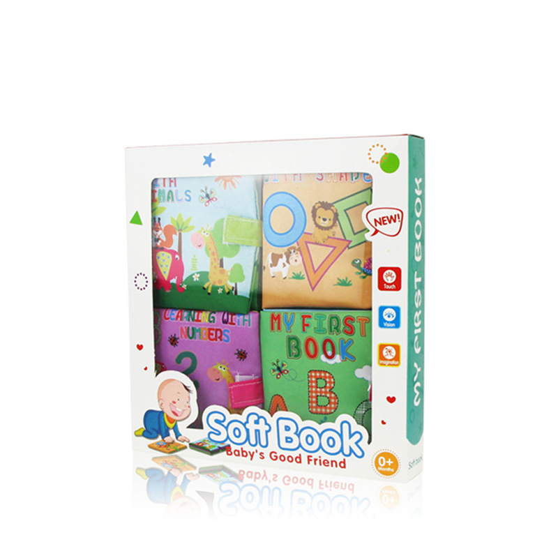 Baby's First Touch and Feel Soft Cloth Book Set 4 Packs