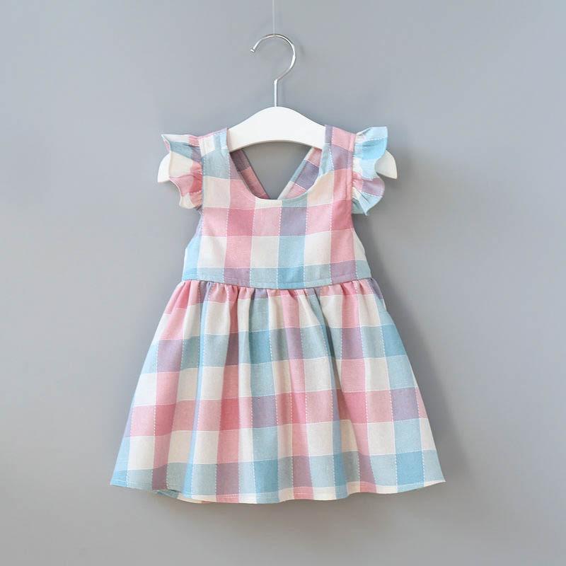 Girls Ruffles Sleeves Plaid Backless Dress