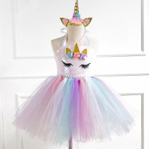 Girl Sequins Print Flowers Crown Tutu Dress With Unicorn Hair-band