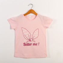 Girls Print Slogan Bowknot Pink T-Shirts