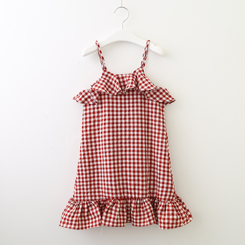 Girls Ruffles Plaids Slip Dress