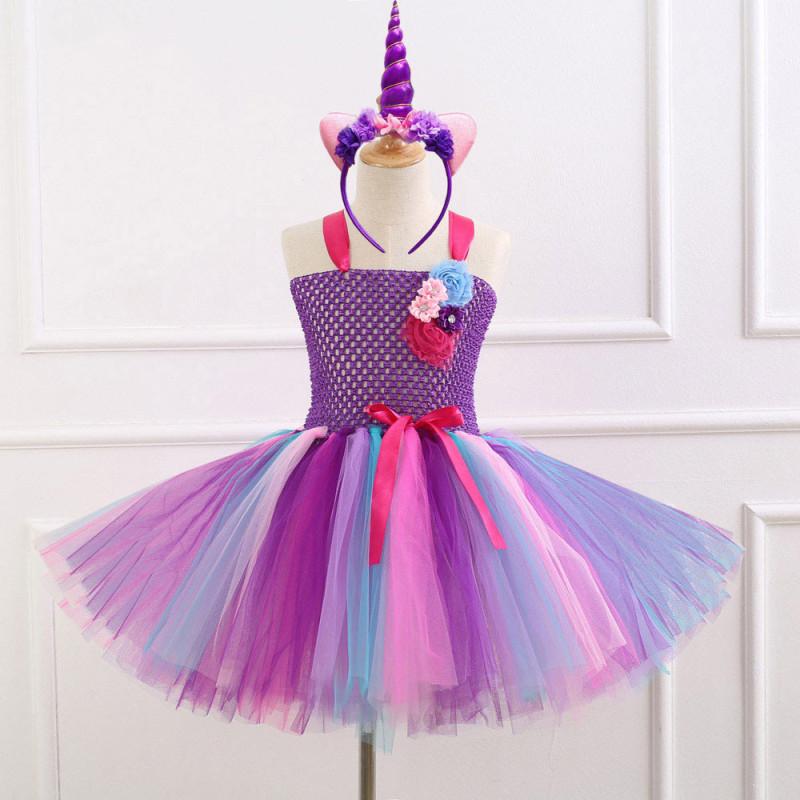 Girl Purple Crocheted Flowers Tutu Dress
