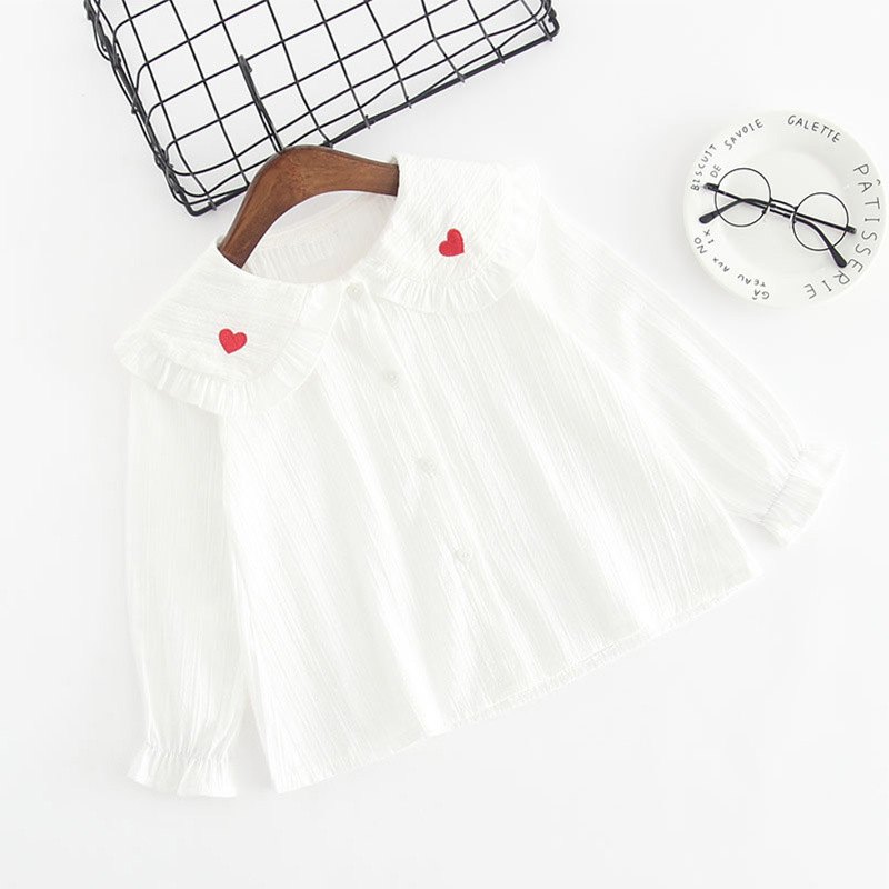 Girls Print Red Hearts Ruffles Collar Bell Sleeves Stripes Blouse