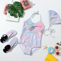 Kid Girls' Rainbow Gold Blocking Swimwear