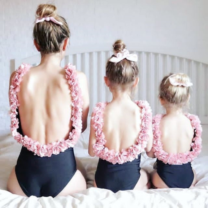 Mommy and Me Matching Swimwear 3D Flowers Swimsuit